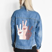 """Spread Peace"" Denim Jacket"