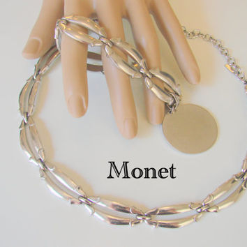 Vintage Monet Necklace and Matching Charm Bracelet / Designer Signed / Demi Parure / Silver Tone / Charm to be Monogramed / Jewelry