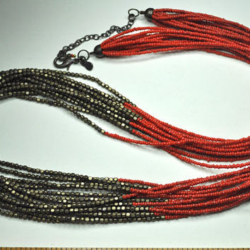 CHICOS Vintage Boho,  Multi-Strand, Red and Bronze Metallic Seed Bead, Super Long Necklace, Exotic Beauty! #A665