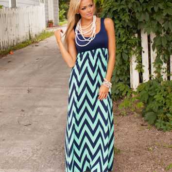 Navy/Mint Impeccable Maxi Dress