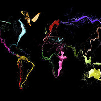 World Map Abstract Paint Canvas Print