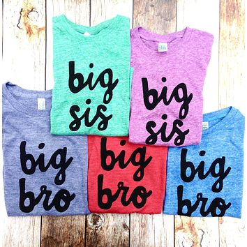 newborn photography big bro or big sis sibling shirts for birth announcement hospital outfit with newborn Colors- red, blue, grey, mint, purple- boys girl kids shirt