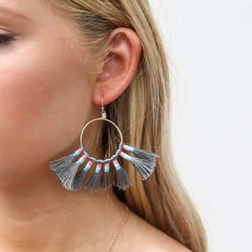 Gold And Gray Fringe Hoop Earrings
