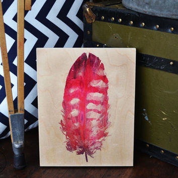 Watercolor print pink feather on maple wood block, christmas, birthday, anniversary, graduation gift