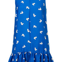 Squirrel Print Collar Dress - Blue