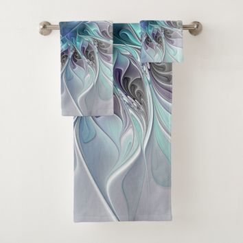 Flourish Abstract Modern Fractal Flower With Blue Bath Towel Set