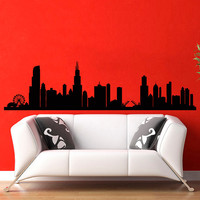 Chicago Skyline City Silhouette Wall Vinyl Decal Sticker Home Decor Art Mural  Z386