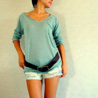 Mint Green Pastel Top / Women T shirt / Long sleeves T-shirt / Women tunic top / light cotton / Boho Hippie T shirt, Comfy cotton top
