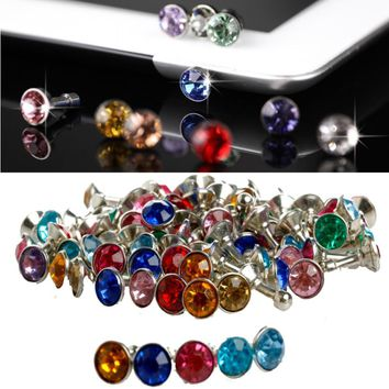 100x 3.5mm Bling Anti Dust Stopper Crystal Earphone Plug Cap