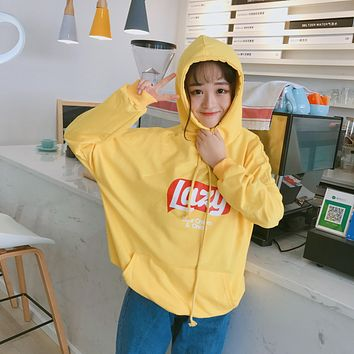 2018 New Autunm Loose Letter Printed Hooded Casial College Wind All Match Simple Long Sleeve Female Sweatshirts