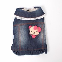 Trendy Hot  Winter Jeans Clothes For Dog Pink Bear Denim Dress Designer Pet Jackets For Puppy Animals Cats Chiahuahua Bulldogs Supplies AT_94_13