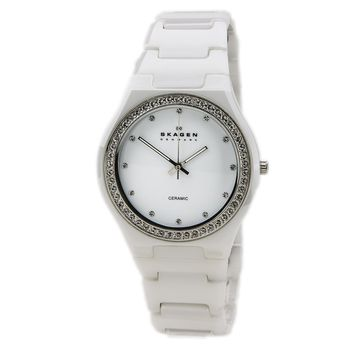 Skagen 813LXWC Womens Denmark White Ceramic White Dial Crystal Accented Watch