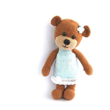 stuffed teddy bear, crocheted brown bear with blue skirt, baby toy, stuffed animal amigurumi toy for children, gift for children