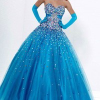 Buy Blue Ball Gown Floor-length Strapless Dress in UK - Cheapest Prom Dresses Shop Online