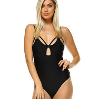 Bree Black Strappy One-Piece Swimsuit