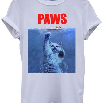 Paws Cat Kitten Meow Parody Cool Funny Hipster Swag White Men Women Unisex Top T-Shirt -X-Large