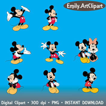 Digital Clipart - 14 Mickey Mouse Party Clip Art Scrapbooking Invitations commercial use  INSTANT DOWNLOAD printable 300 dpi png
