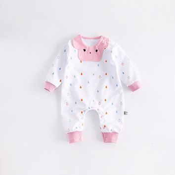 Peninsula Baby 2017 cute baby Girls rompers raindrop soft Spring baby jumpsuits long sleeve breathable newborn baby clothes