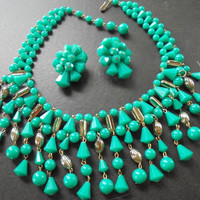 On Sale Vintage Teal Green Gold Bib Beaded Necklace - Signed West Germany - Collectible Retro Rockabilly Glam Jewelry