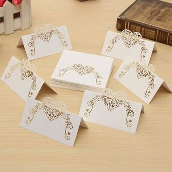 50pcs DYI Laser Cut Heart Shape Table Name Card Place Card Wedding Party Decoration Name Card