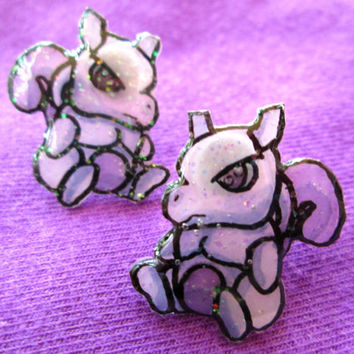 Mewtwo Pokemon Earrings, Hand Drawn, Shrink Plastic, Video Game Jewelry, Anime Studs,Glitter Coating Option, Hypoallergenic, Made to Order