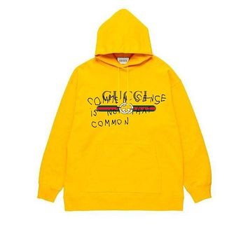 GUCCI tide brand men's and women's loose hooded long-sleeved pullover jacket yellow