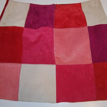 Vintage 1990's Pink and Red Patchwork Suede Leather Express Mini Skirt