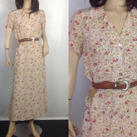Carol Anderson 30s Style Dress Floral Tea Dress Flirty Skirt  90s Maxi Long Rayon Day Side Zipper Dress S M 38 bust small-medium