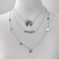 Bohemian Turquoise Stacked Necklace