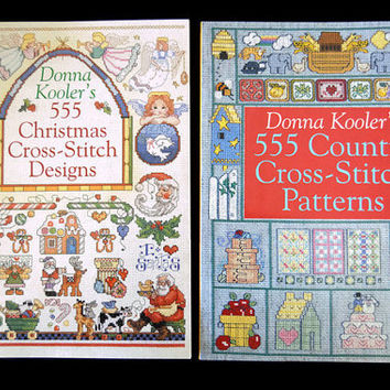 555 Christmas Cross Stitch Designs and 555 Country Cross-Stitch Patterns by Kooler Donna 2 Books, Instructions, Needlework Pattern Tutorial