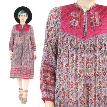 70s Indian Gauze Cotton Dress Vintage Paisley Print Long Sleeve Dress Hippie Boho Gypsy Dress Festival Floral Sheer Cotton Tunic Dress (S/M)