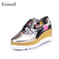 Fashion Women Casual Shoes Creepers Platform Shoes Sequined Cartoon Pattern Leather Wedges High Heels Shoes#HL18