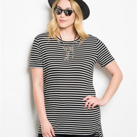Stripes & Stuff Tee Dress- Black