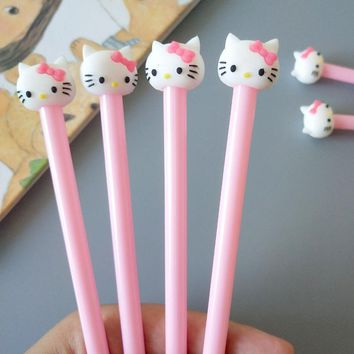 4X Kawaii Hello Kitty Pink Princess Gel Pen Writing Signing Student Kids Girl Stationery Gift School Office Supply 0.38mm