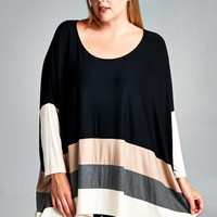 Knit Color Block Sizes 1XL-3XL
