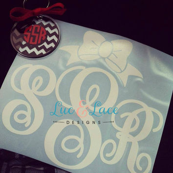 Script Monogram Car Decal with Bow ONE COLOR