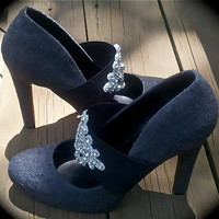 applique shoe in gray by SugarandSpeisz on Etsy
