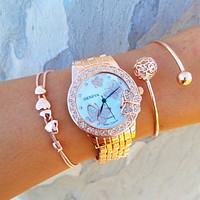 Butterfly Heart Watch & Bracelet Stack