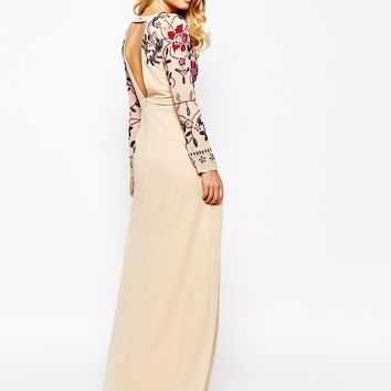 Frock and Frill Floral Embellished Thigh Split Maxi Dress With Plunge Neck And Back