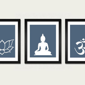 Namaste Set 3 Prints Om, Lotus and Buddha Art Prints 8x10 inch Modern Yoga