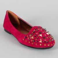 Bamboo Ferocious-01 Studded Spike Loafer Flat