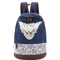 MP Women's Lace Embellished Canvas School Bag Travel Backpack 042319 DP8888