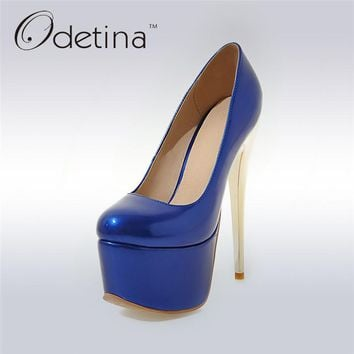 Odetina 2017 New Fashion Women Extreme High Heels 16cm Fetish Platforms Sexy Pumps Party Shoes Ladies Footwear Heels Big Size 48
