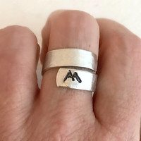 Rocky Mountain Wrap Ring, hammered stamped silver adjustable band wide aluminum birthday hiking climbing travel skiing gift for her him