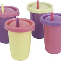 The First Years 4 Pack Ziploc Straw Cup, 10 Ounce, Colors May Vary