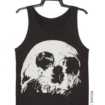 Romance Skull Illusion Art Singlet Vest Tunic Tank Top Sleeveless Shirt Women Indie Punk Rock T-Shirt Size S-M