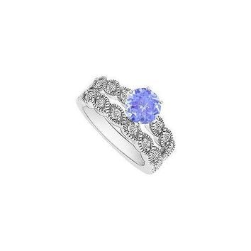 Tanzanite and Diamond Engagement Ring with Wedding Band Set : 14K White Gold - 0.50 CT TGW