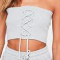 Missguided - Grey Lace Up Detail Ribbed Bandeau Bralet
