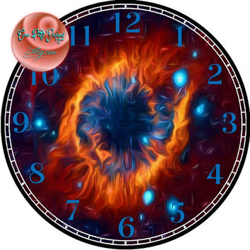 """God's Eye Nebula Painting Art - -DIY Digital Collage - 12.5"""" DIA for 12"""" Clock Face Art - Crafts Projects"""