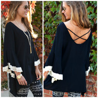 Candlelight Black Bell Sleeve Top